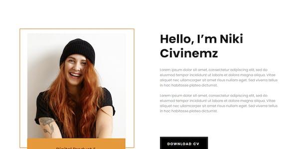 Nikicivi - Elegant CV/Resume & Portfolio Elementor Template Kit