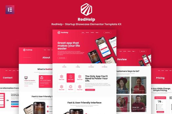 RedHelp - Startup Showcase Elementor Template Kit - Technology & Apps Elementor