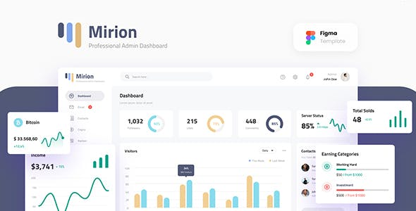 Mirion - Simple Professional Admin Dashboard Figma Template