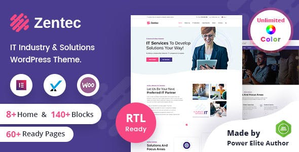 Zentec - IT Solutions Company WordPress Theme + RTL