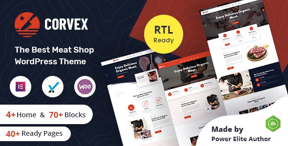 Corvex - Butcher & Meat Shop WordPress Theme + RTL - Food Retail