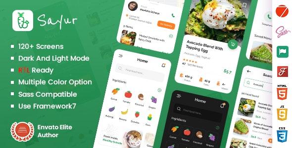 Sayur - Food Delivery Framework 7 Mobile App - Mobile Site Templates