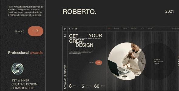 Roberto v1.0 – Onepage Horizontal Personal CV/Resume HTML Template