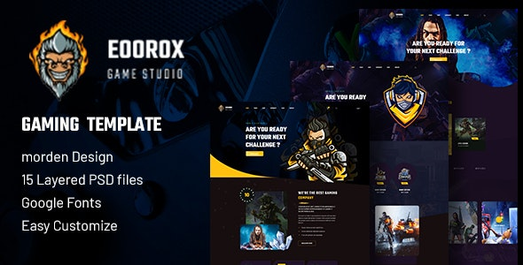 Eoorox - Gaming and eSports PSD Template - Entertainment Photoshop