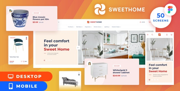 SweetHome – Desktop&Mobile eCommerce Figma Template - Shopping Retail