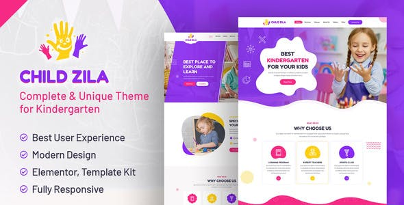 ChildZilla - Kindergarten & Childcare Elementor Template Kit