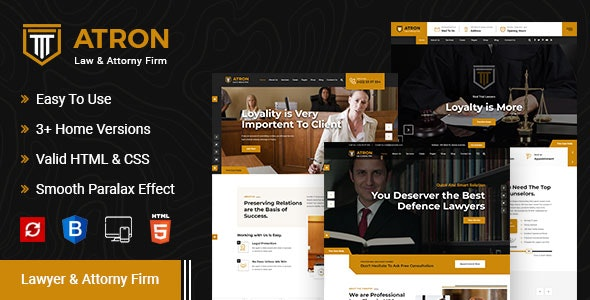 Atron – Law Firm HTML Template - Business Corporate