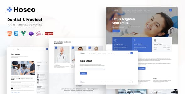 Hosco - Dentist & Medical Vue JS Template