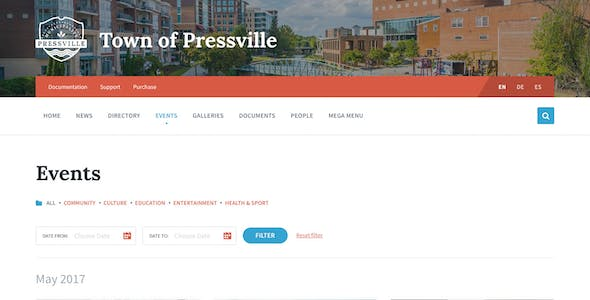 Pressville - Unique WordPress Theme for Municipalities