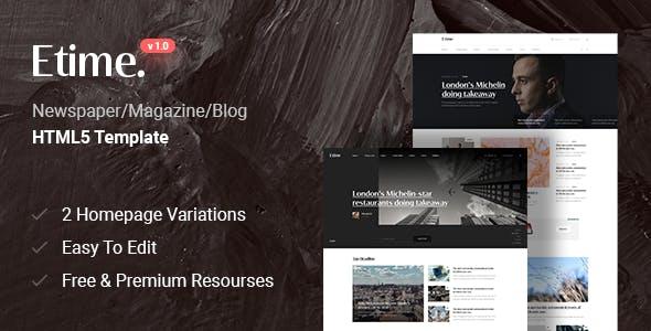 Etime - Blog & Magazine HTML5 Template