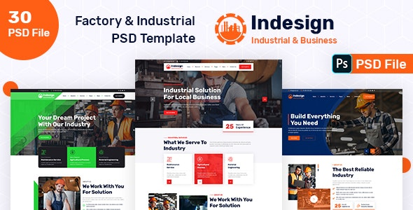 Factory & Industrial PSD Template - Business Corporate