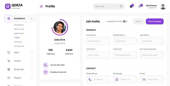 Qerza - Job Portal React Admin Dashboard Template