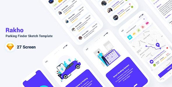 Rakho – Parking Finder Sketch Template - Sketch UI Templates