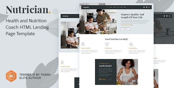 Nutrician - Health and Nutrition Coach Feminine HTML Landing Page Template - Retail Landing Pages