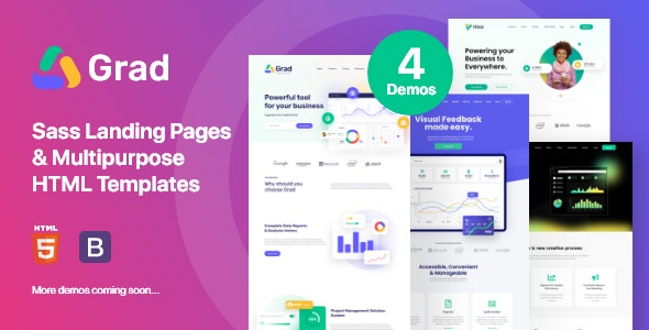 Grad - Sass Landing Pages & Multipurpose  HTML Template - Software Technology