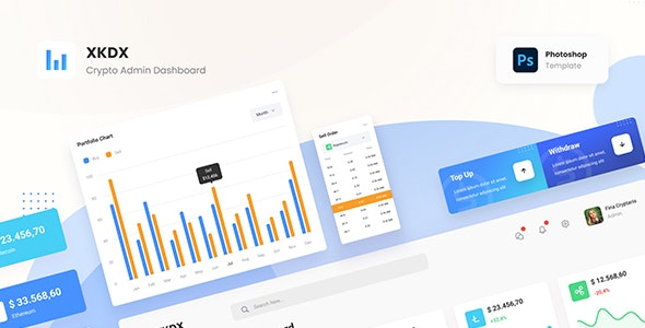 XKDX - Clean Crypto Admin Dashboard Template PSD - Miscellaneous Photoshop