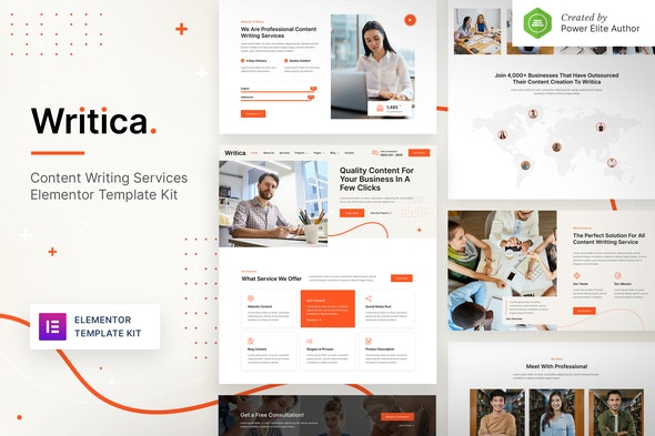 Writica – Content Writing Services Elementor Template Kit - Business & Services Elementor
