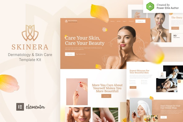 Skinera – Dermatology and Skincare Elementor Template Kit - Fashion & Beauty Elementor