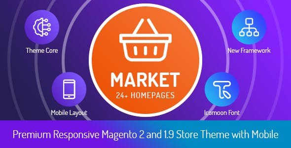 Market - Premium Responsive Magento 2 and 1.9 Store Theme with Mobile-Specific Layout (24 HomePages)