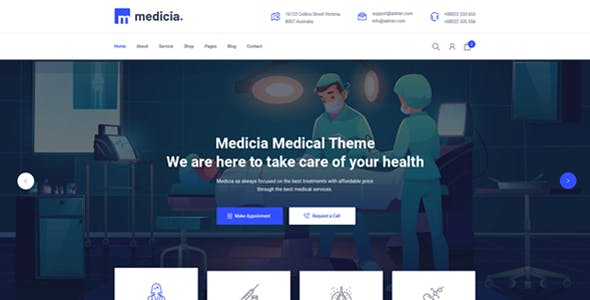 Medicia - Medical Health Clinic and eCommerce HTML5 Template