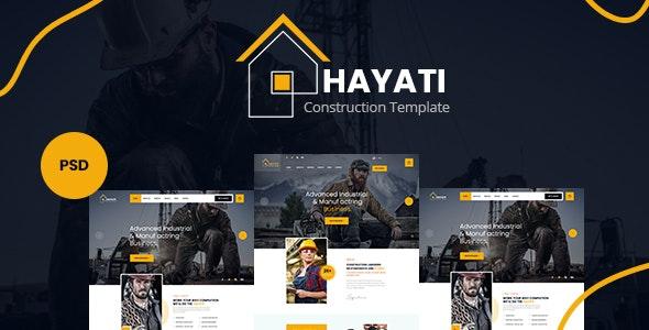 Hayati - Construction PSD Template - Corporate Figma