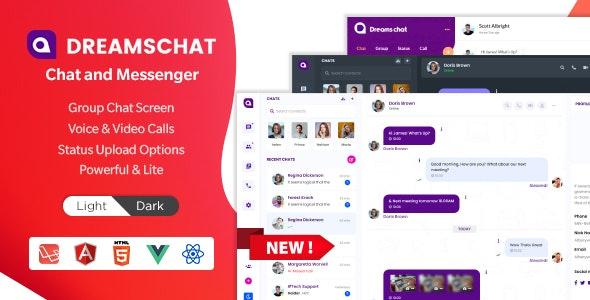DreamsChat - Chat and Messenger HTML + Admin Dashboard (HTML + ReactJS + Laravel + Vuejs + Angular) - Admin Templates Site Templates