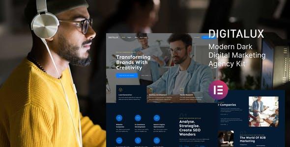 Digitalux – Modern Dark Digital Marketing Agency Template Kit