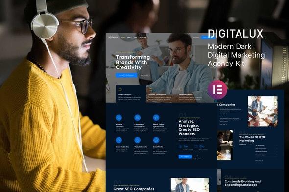 Digitalux – Modern Dark Digital Marketing Agency Template Kit - Business & Services Elementor