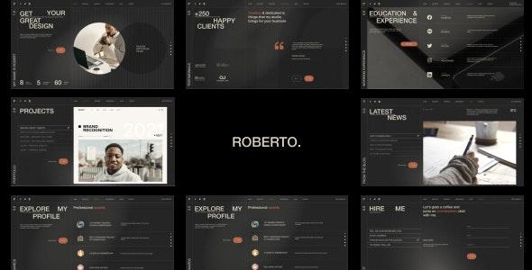 Roberto. - Onepage Horizontal Personal CV/Resume HTML Template - Virtual Business Card Personal