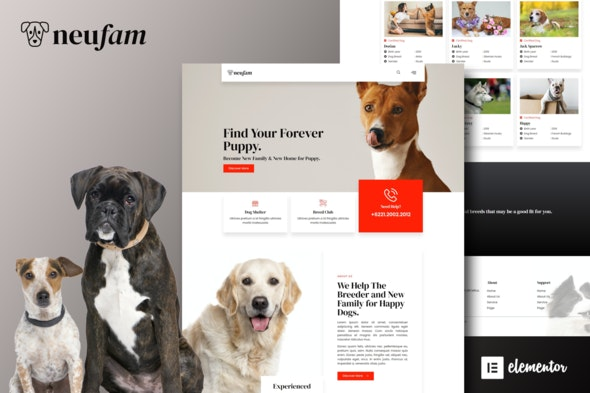 NeuFam - Dog Breeder & Kennel Club Elementor Template Kit - Business & Services Elementor