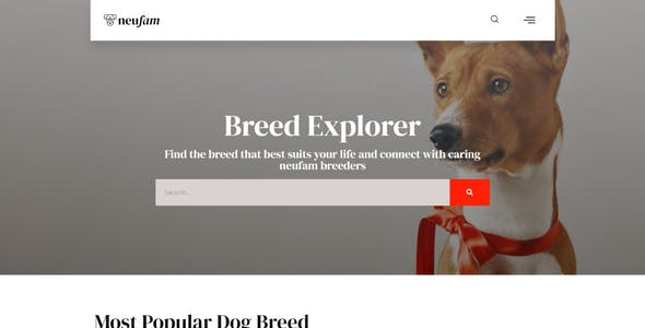 NeuFam - Dog Breeder & Kennel Club Elementor Template Kit