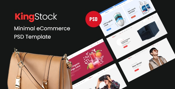 KingStock - Minimal eCommerce PSD Template - Retail Sketch