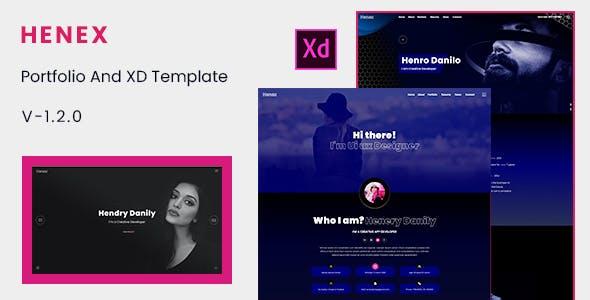 Henex - Minimal Personal Portfolio XD Template