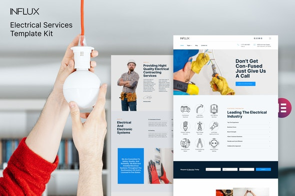Influx - Electrician & Electrical Services Template Kit - Business & Services Elementor
