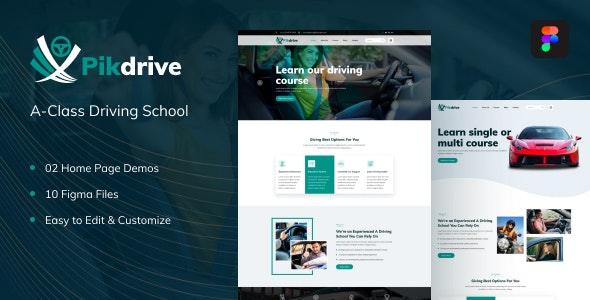 Pikdrive – Driving School Figma Template - Business Corporate