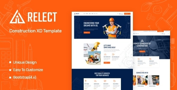 Relect - Construction & Building XD Template - Business Corporate