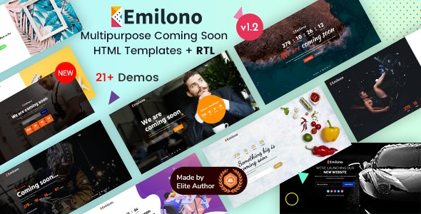Emilono - Coming Soon HTML Template - Under Construction Specialty Pages