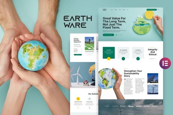 Earthware — Eco Green Renewable Energy Elementor Template Kit - Non-Profit & Religion Elementor