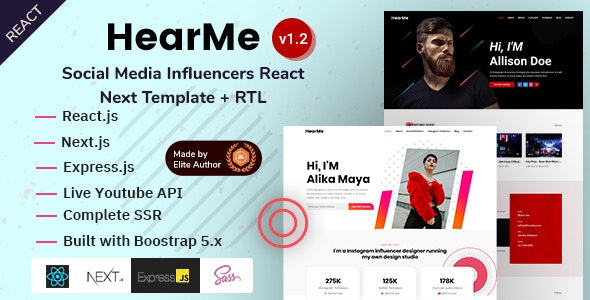 HearMe - React Next Social Media Personal Portfolio - Portfolio Creative