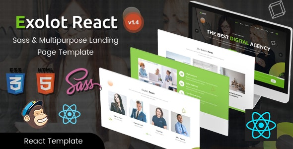 Exolot - React Multipurpose Landing Page Template - Business Corporate