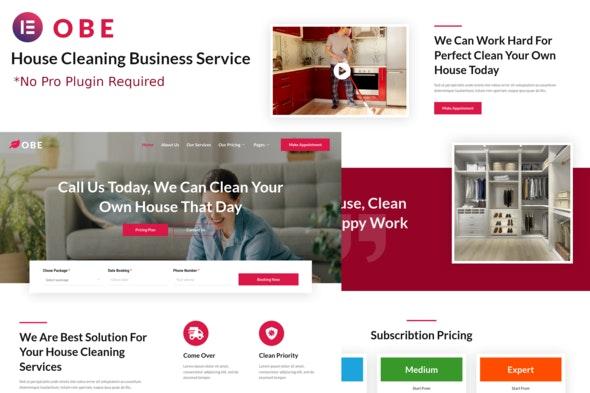 Obe - House Cleaning Business Elementor Template Kits - Business & Services Elementor