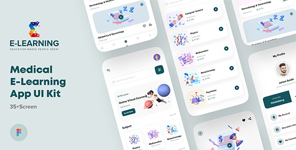 Medical e-Learning Online Course  App UI kit For Figma - Technology Figma