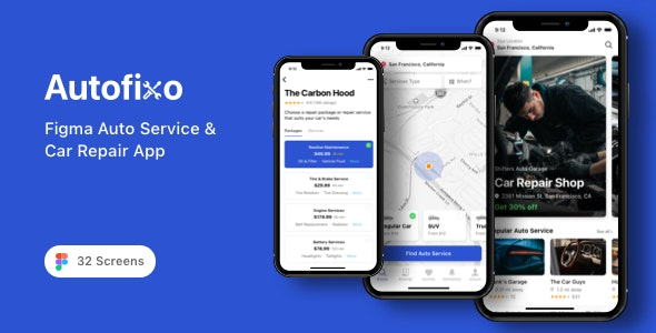 Autofixo - Figma Auto Service & Car Repair App - Business Corporate