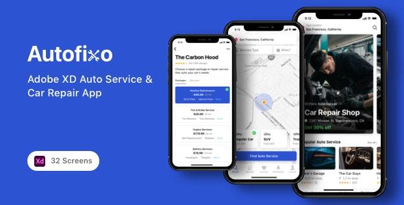 Autofixo - Adobe XD Auto Service & Car Repair App - Business Corporate