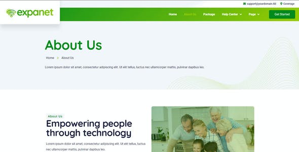 Expanet - Broadband & Internet Services Elementor Template Kit