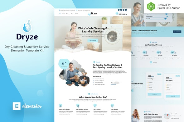 Dryze – Dry Cleaning & Laundry Service Elementor Template Kit - Business & Services Elementor