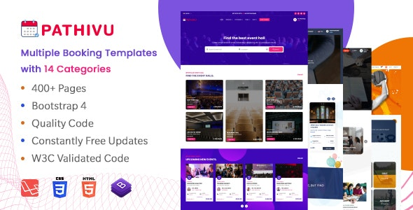 Pathivu - Responsive Booking Templates with spa saloon school sports spiritual events (HTML+Laravel) - Business Corporate