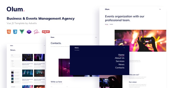 Olum - Business & Events Management Agency Vue JS Template - Events Entertainment