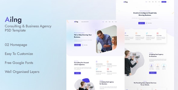Ailng Creative Consulting & Business Agency PSD Template - Corporate Photoshop