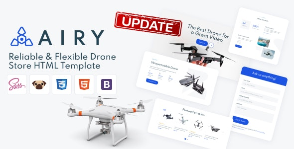 Airy - Drones Store HTML Template - Electronics Technology